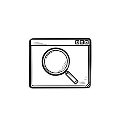browser window with magnifying glass hand drawn vector image