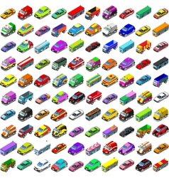 Cars Game Icons Isometric Vehicles vector image