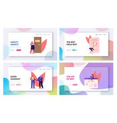 Characters hiring job landing page template set vector