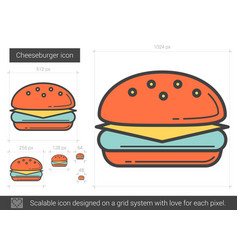 Cheeseburger line icon vector