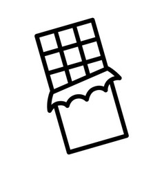 chocolate bar with squares line icon vector image