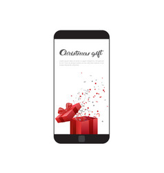Christmas gift message on modern cell smart phone vector