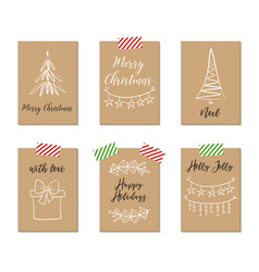 Christmas greeting cards gift tags vector