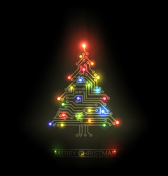 Christmas tree from digital circuit vector
