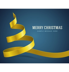 Christmas yellow tree from ribbon background vector