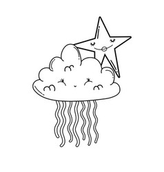 clouds and stars cute cartoons in black and white vector image