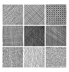 collection ink hand drawn hatch texture vector image
