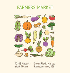 Colorful linear poster for farmers market vector