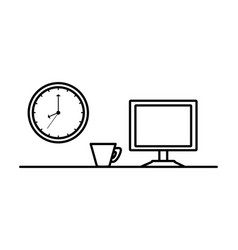 Computer monitor with clock and cup coffee vector