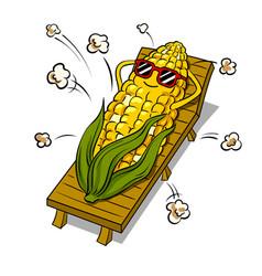 Corn tans on beach pop art vector