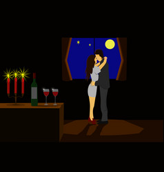 couples dancing in a candlelit room and wine vector image