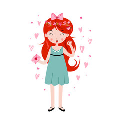 Cute girl holding love letter template for vector