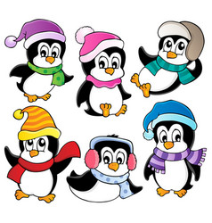 Cute penguins collection 3 vector