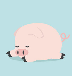 cute sleeping little pig vector image