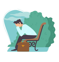 depressed man got fired sacked employee in park vector image