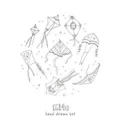 Doodle Kite Set on black Background vector image