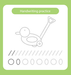 Duck kids toys theme handwriting practice sheet vector