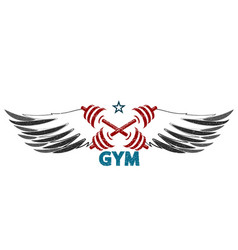 dumbbells and wings silhouette vector image