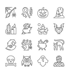 editable stroke halloween thin line icon set vector image