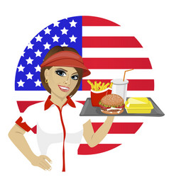 employee with fast food on tray over usa flag vector image
