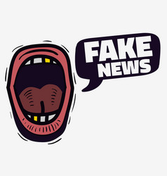 Fake news screaming mouth hand drawn doodle style vector