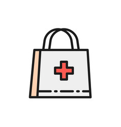 First aid kit doctor bag medical briefcase flat vector