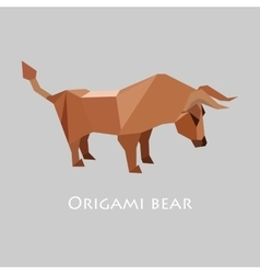 flat design with origami bull vector image