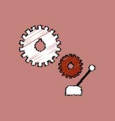 flat icon design collection gear and transmission vector image