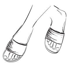 Foot sketch in hand drawn slippers vector