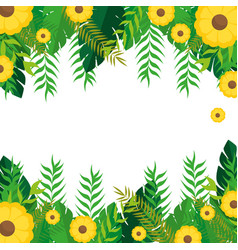 frame with yellow flowers and green leaves nature vector image