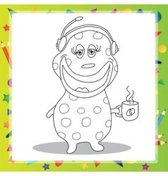 Fun Cartoon Character Phone Operator - coloring vector image