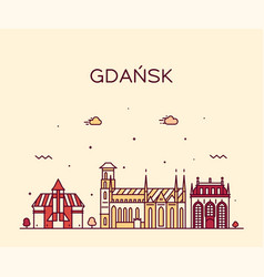 Gdansk skyline poland big city linear style vector