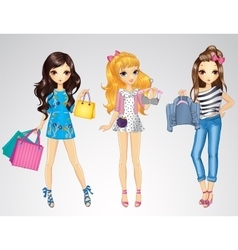Girls With Shopping Bags And Clothes vector