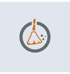Gray-orange Broom Round Icon vector