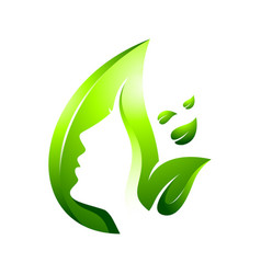 green leaf skin care logo vector image