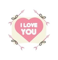 Greeting i love you heart arrow ribbon vector