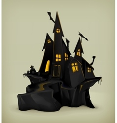 Halloween witch castle vector