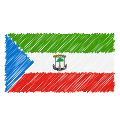 hand drawn national flag of equatorial guinea vector image