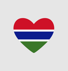 Heart of the colors of the flag of gambia vector