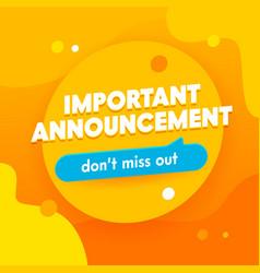 Important announcement banner promotion vector