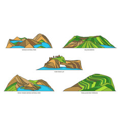 Indonesia landmarks travel or nature line icons vector