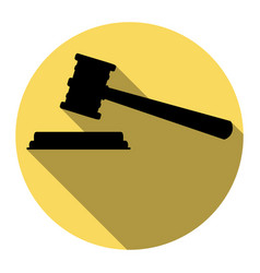 justice hammer sign flat black icon with vector image