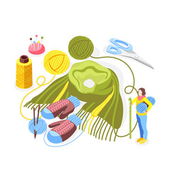 Knitting set isometric composition vector