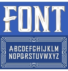 label font with ornament Blue vector image