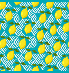 lemon seamless pattern on geometric background vector image