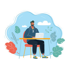 Man working on computer vector
