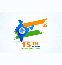 map india with flag for independence day vector image