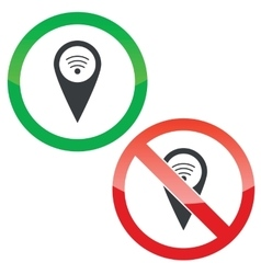 Mark Wi-Fi permission signs set vector image