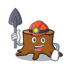 Miner tree stump mascot cartoon vector