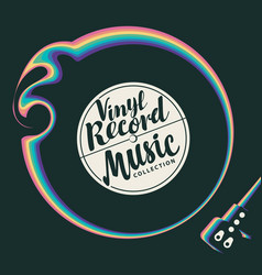 Music poster with old vinyl record and player vector